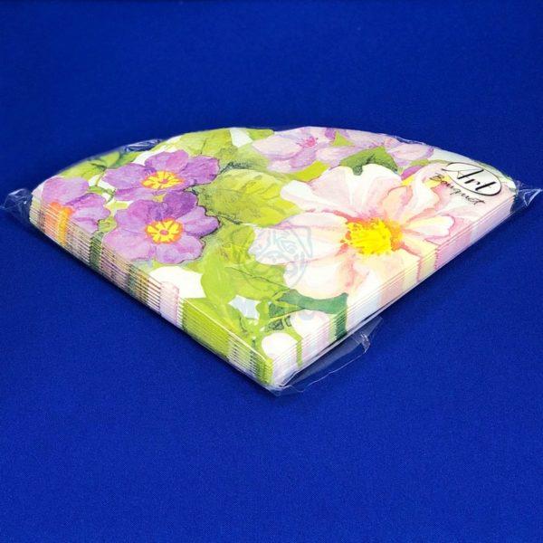 Салфетки бумажные трехслойные «Цветочное ассорти» 12 л d32 Rondo 1/15