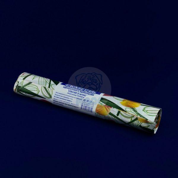 Скатерть одноразовая полиэтиленовая в рулоне «Солнечный тюльпан» 120*800см 5шт 1/25
