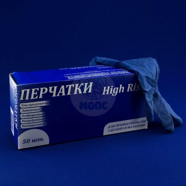 Перчатки латексные неопудренные особопрочные размер L High Risk (50шт)