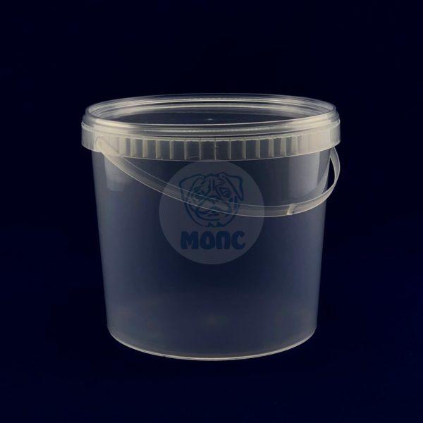 Пластиковое ведро 5,5л с крышкой и ручкой бесцветное 1/50