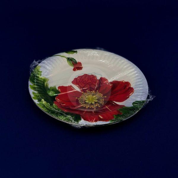 Тарелка бумажная одноразовая диаметром 180мм «Маки» (6шт)