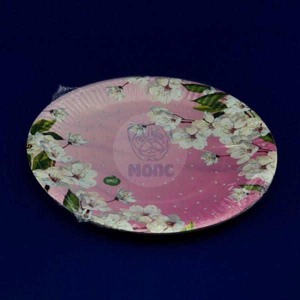 Тарелка бумажная одноразовая диаметром 230мм Сакура (6шт)