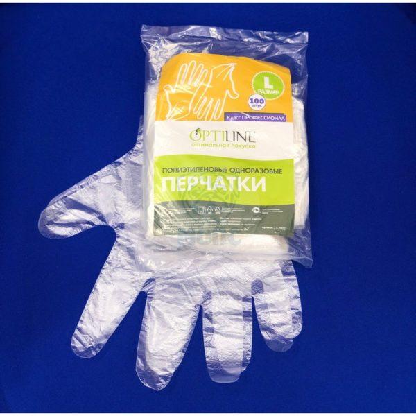 перчатки п/э одноразовые (100 шт) L 1/100 Opti