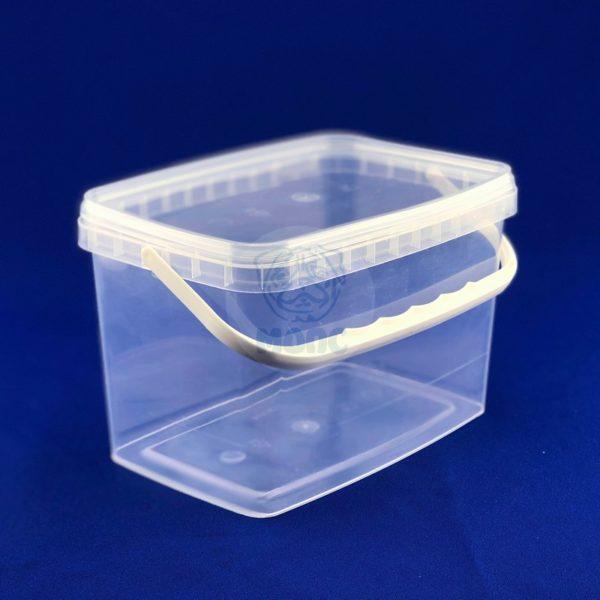 Контейнер многоразовый пластиковый с крышкой и ручкой 2,0л прозрачный 1/200