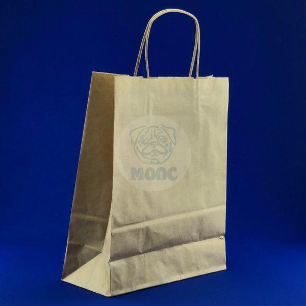 Пакет бумажный с кручеными ручками крафт 240*110*320мм 1/250