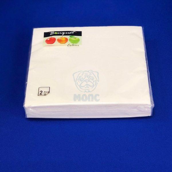 Салфетки бумажные двухслойные белые 20 л 33*33 см «Bouquet» 1/12