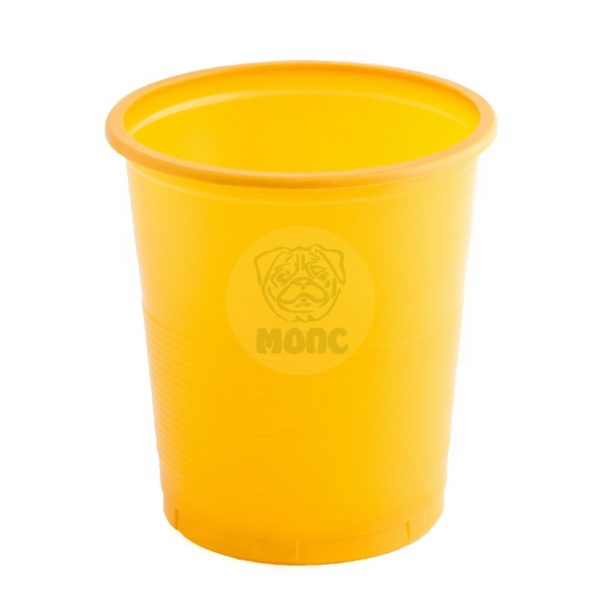 Стакан одноразовый 500мл пластиковый Бочонок желтый Эконом 80/20/1600