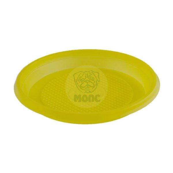 Тарелка десертная одноразовая пластиковая диаметр 165мм желтая 100/2400