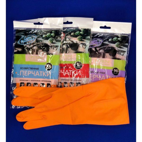 Перчатки латексные хозяйственные с хлопковым напылением Optiline размер М 12/240