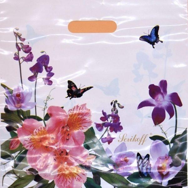 Пакет с вырубной ручкой «Цветы» 35*37см 50/600