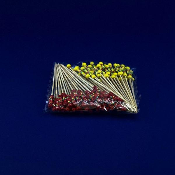 Палочки пика для канапе бамбуковая «Пика Рио» длина 12 см красная и желтая  ( 100 шт ) 1/40