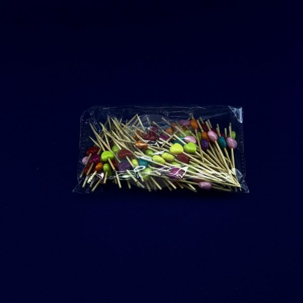 Палочки пика для канапе бамбуковая «Сердечко» разноцветное длина 7см (100шт) 1/40