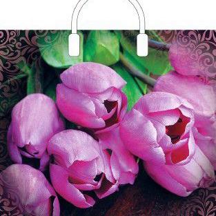 Пакет с пластиковой петлевой ручкой «Дивные тюльпаны» 38*34+3см 1/10/100