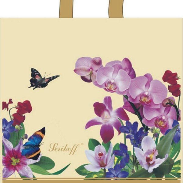 Пакет с петлевой ручкой «Букет бежевых орхидей» 39*40см 25/500