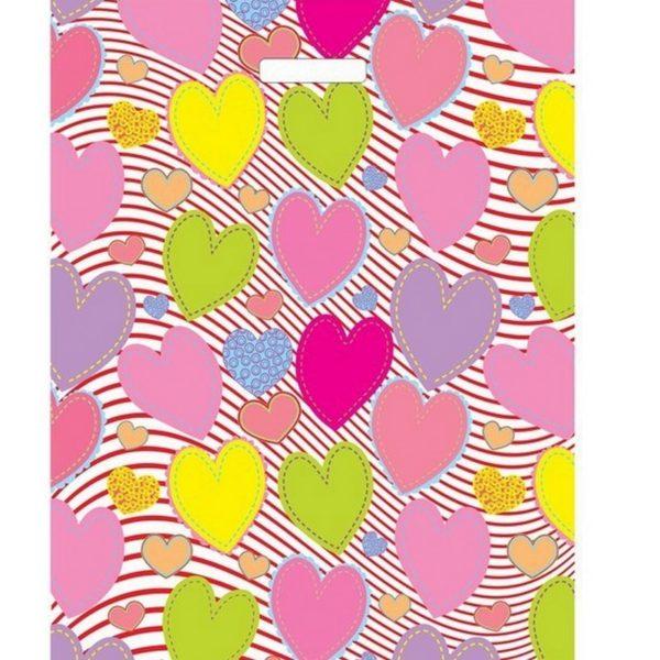 Пакет с вырубной ручкой «Красочные сердечки» 30*40см 50/1000