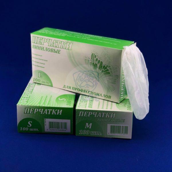 Перчатки виниловые неопудренные прозрачные размер L 100шт 1/10