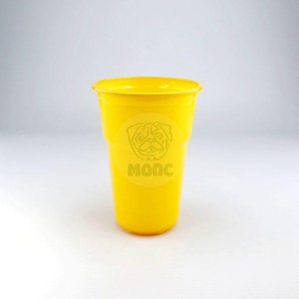 Стакан одноразовый 500мл пластиковый Факел желтый Эконом 85/20/1700