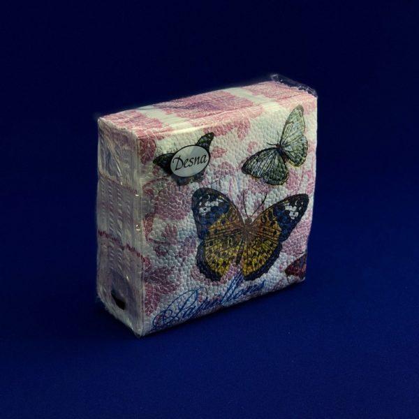 Салфетки бумажные однослойные «Бабочки и цветы» 40 л 25*25 см Desna 1/105