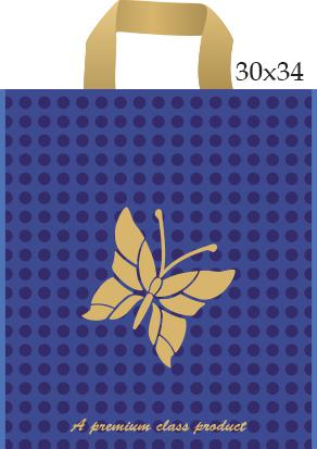 Пакет с петлевой ручкой «Бабочка» синий 30*34 50/700