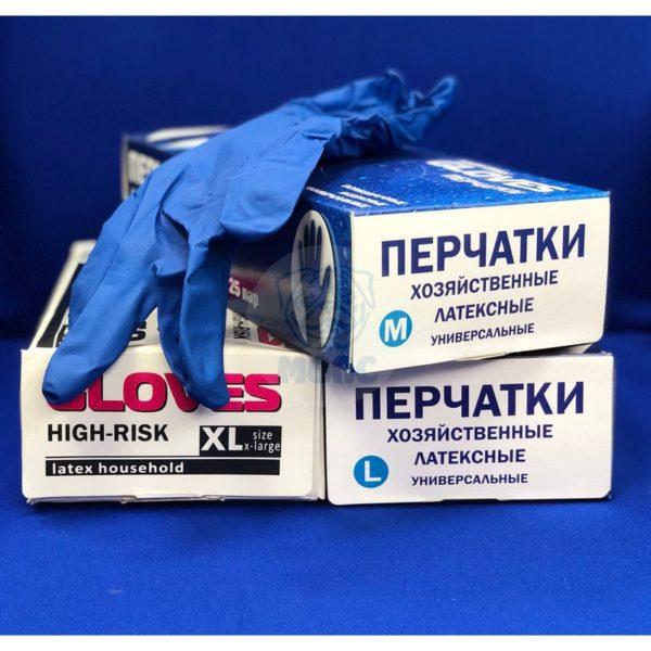 перчатки латексные хоз-ые GLOVES L (50шт) 1/10