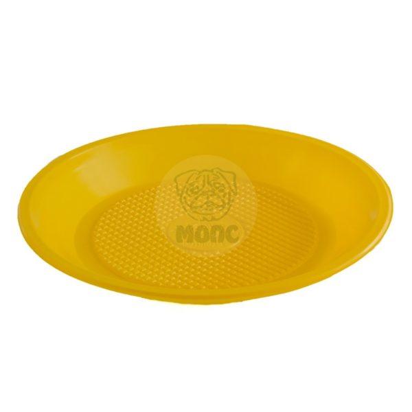 Тарелка десертная одноразовая пластиковая диаметр 200мм желтая 100/1800