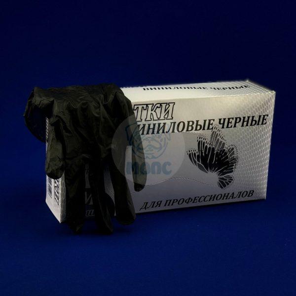 перчатки винил. неопудр. чёрные (100шт)  М 1/10 ЛИГА
