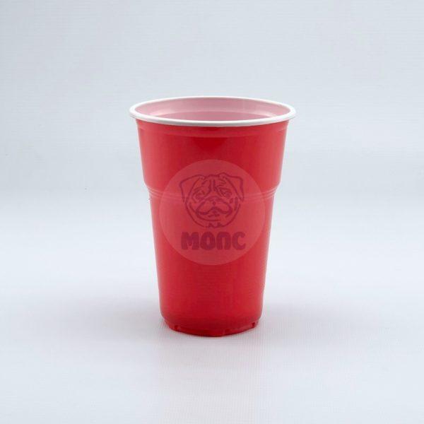 Стакан одноразовый 500мл пластиковый двухслойный Факел красно-белый Экстра 100/20/2000