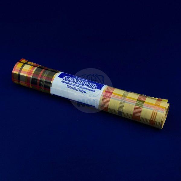 Скатерть одноразовая полиэтиленовая в рулоне «Шерлок» 120*800см 5шт 1/25