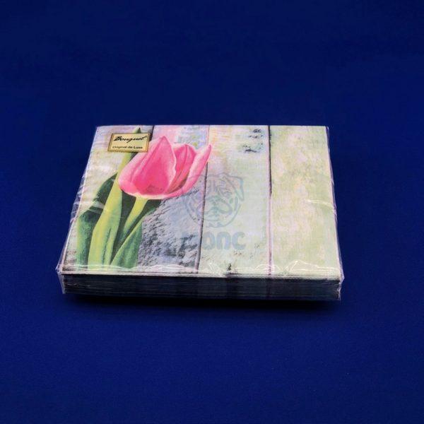 Салфетки бумажные двухслойные «Розовый тюльпан» 20 л 33*33 см 1/15