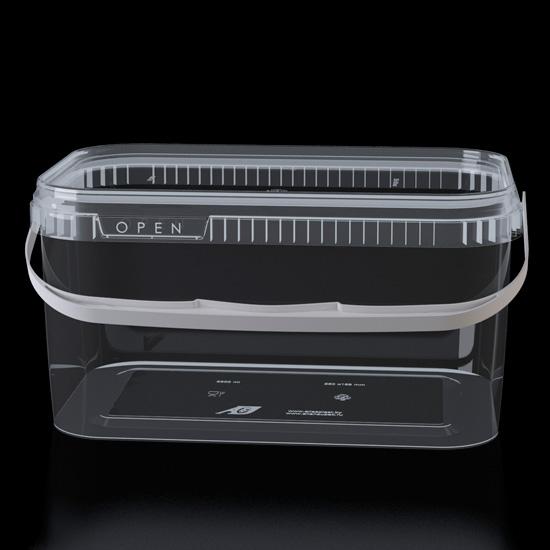 Контейнер многоразовый пластиковый с крышкой с ручкой 3,3л прозрачный 1/35