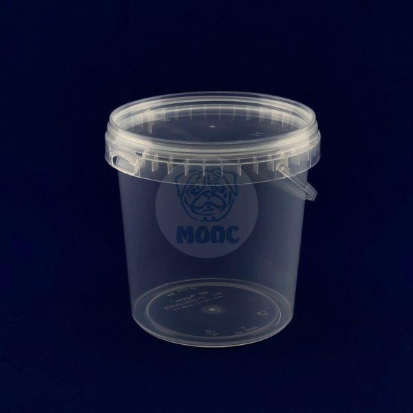 Пластиковое ведро 1,0л с крышкой и ручкой бесцветное 1/200