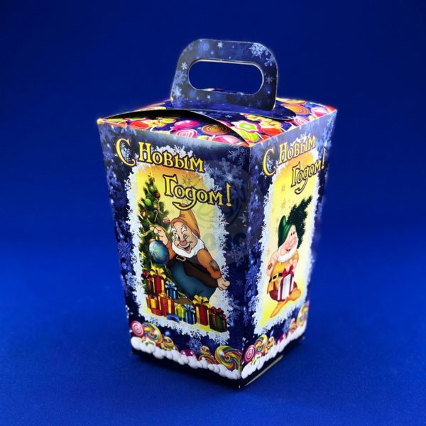 Картонная упаковка для новогодних подарков «Веселые гномики» 900 гр