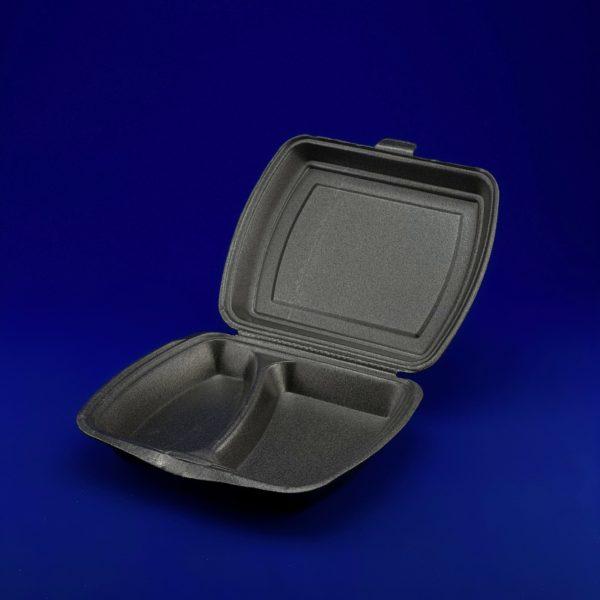 Ланч-бокс LB (2 секции стандарт 247*206*70мм черный) 1/200