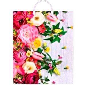 Пакет с пластиковой петлевой ручкой «Нежные цветы» 38*45+3см 1/10/100