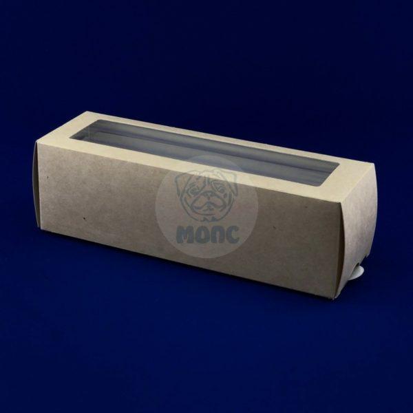 Упаковка бумажная с окном для макаронс 180*55*55мм 50/500