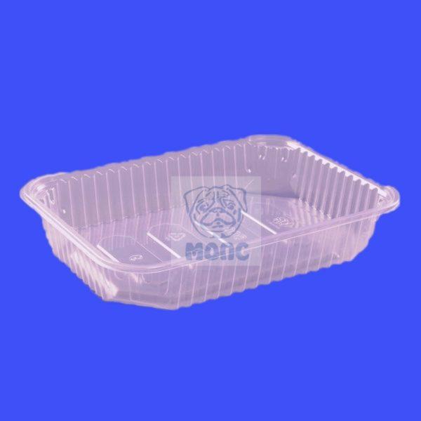 Контейнер прямоугольный низкий одноразовый пластиковый с крышкой 100/500