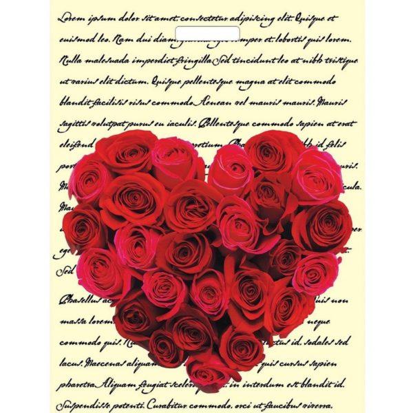 Пакет с вырубной ручкой «Сердце из роз» 30*40см 50/1000
