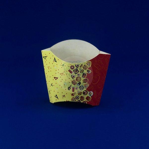 Коробка для картофеля фри крафт 80гр «Рог изобилия» цветная 50/500