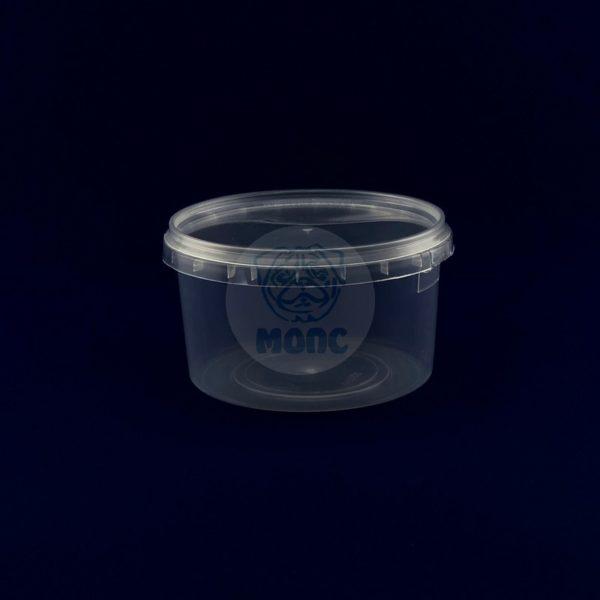 Пластиковое ведро 0,65л с крышкой бесцветное 1/240