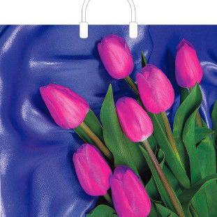Пакет с пластиковой петлевой ручкой «7 тюльпанов» 30*34см 50/700
