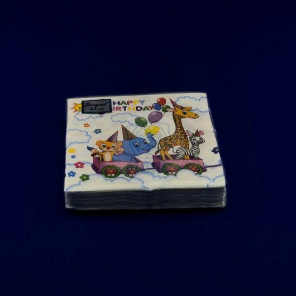 Салфетки бумажные двухслойные «Lux Зоо» 25 л 24*24 см Bouquet 1/15