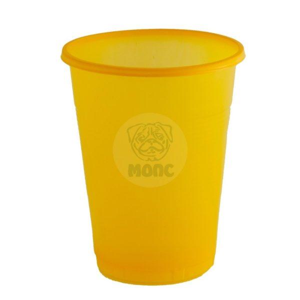 Стаканчик одноразовый 200мл пластиковый желтый Стандарт 100/42/4200