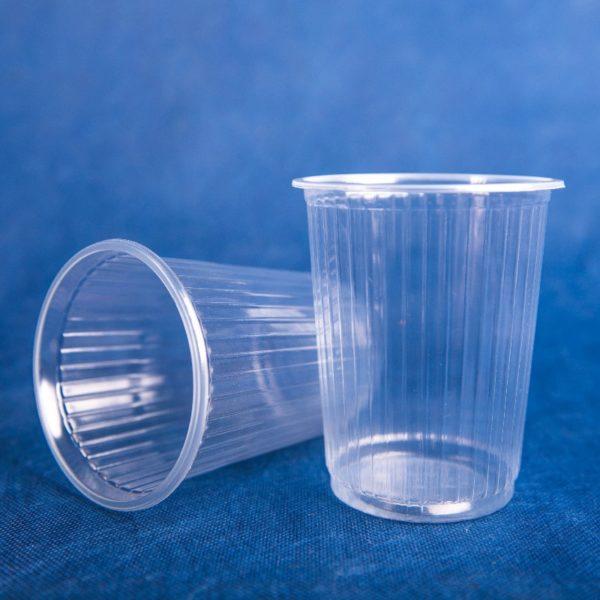 Стакан контейнер одноразовый 500мл пластиковый прозрачный ребристый 80/20/1600