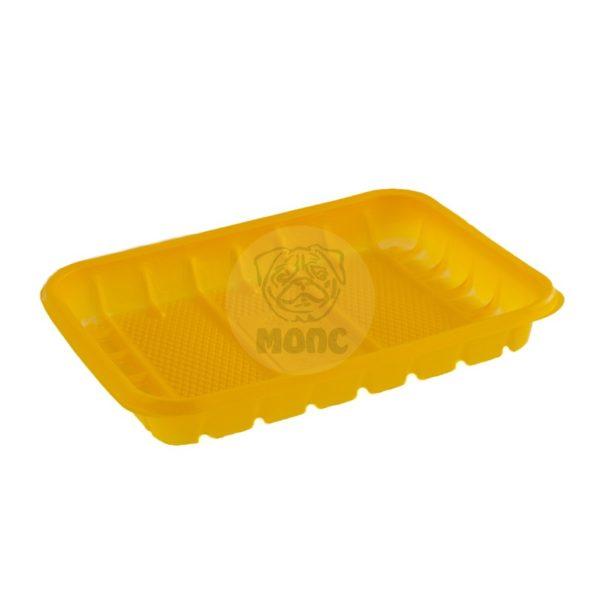 Лоток пластиковый одноразовый желтый 0,5кг для фасовки и заморозки 50/44/2200