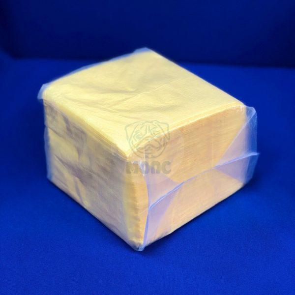Салфетки бумажные однослойные желтые пастель 100л 24*24см 1/48