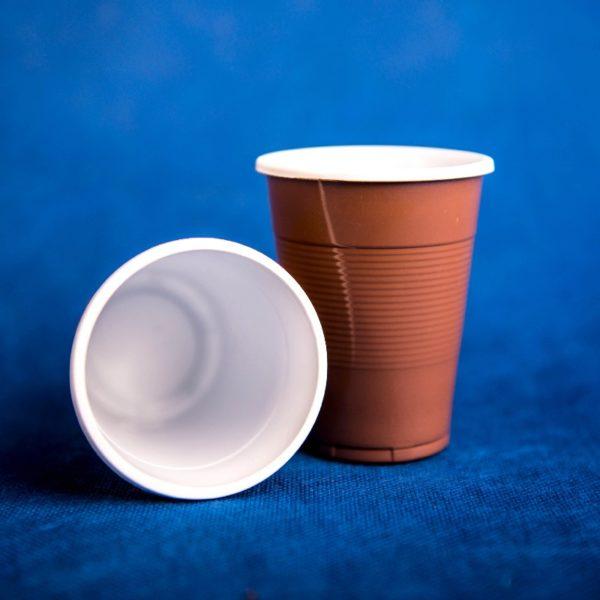 Стаканчик одноразовый 200мл пластиковый двухслойный коричнево-белый Экстра 80/35/2800