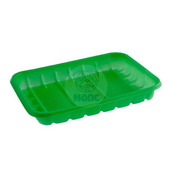 Лоток одноразовый зеленый 0,5кг для фасовки и заморозки 50/44/2200