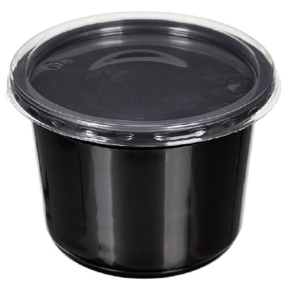 Контейнер черный суповой с крышкой К-115 0,35л 50/500