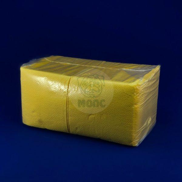 Салфетки бумажные однослойные желтые 24*24см 300л 1/20