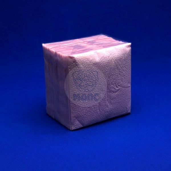 Салфетки бумажные однослойные розовые 24*24см 100л 1/40